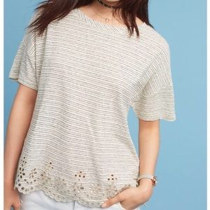Anthropologie Postmark Striped Eyelet T-shirt